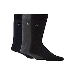 Hammond & Co. by Patrick Grant - Pack of three assorted bamboo rich diamond jacquard socks