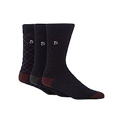 Hammond & Co. by Patrick Grant - Pack of three navy bamboo rich patterned socks
