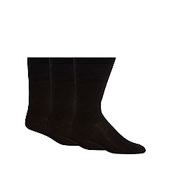 H.J.Hall - Pack of three black 'Softop' wool blend socks