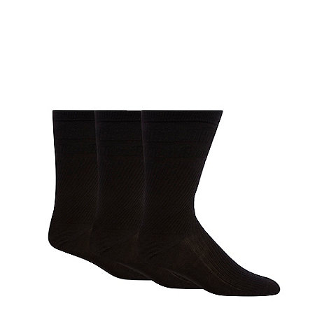 H.J.Hall - Pack of three black +Softop+ wool blend socks