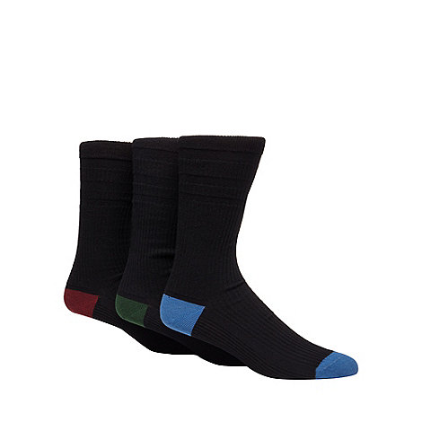 H.J.Hall - Pack of three black wool blend +Softop+ socks
