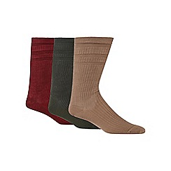 H.J.Hall - Pack of three brown tonal ribbed wool blend 'Softop' socks