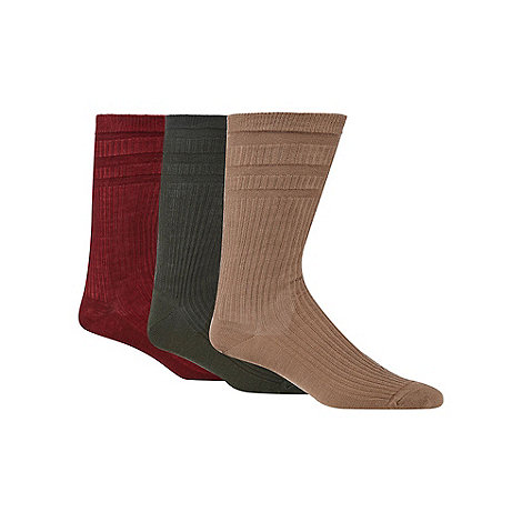 H.J.Hall - Pack of three brown tonal ribbed wool blend +Softop+ socks
