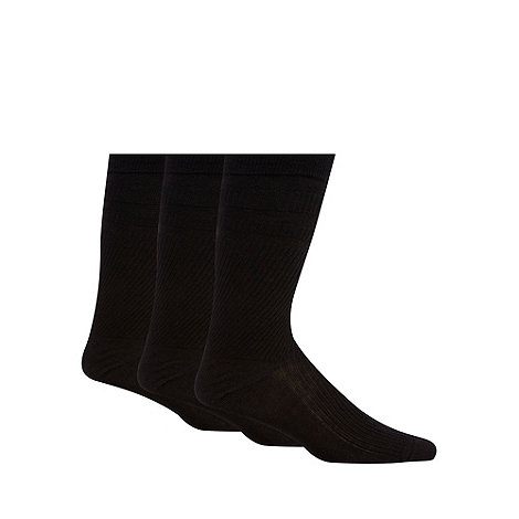 H.J.Hall - Pack of three black ribbed cotton rich +Softop+ socks