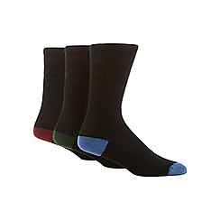 H.J.Hall - Pack of three black cotton blend 'Softop' socks