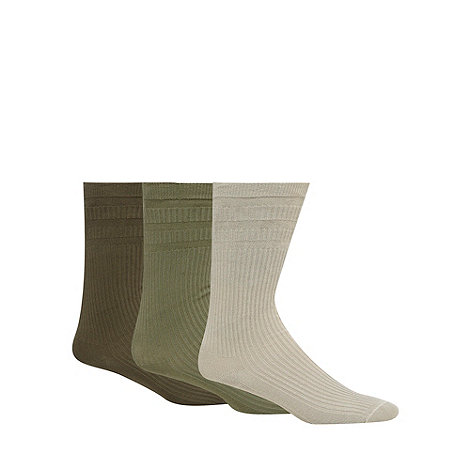 H.J.Hall - Pack of three khaki tonal ribbed cotton rich +Softop+ socks