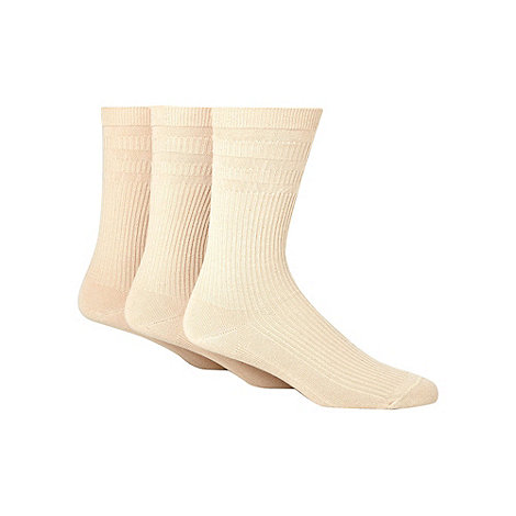 H.J.Hall - Pack of three beige non-elastic socks