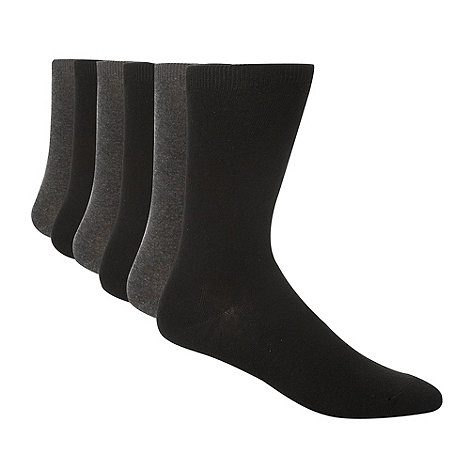 Thomas Nash - Pack of seven dark grey  and black socks