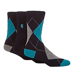 Pringle - Pack of three black argyle socks