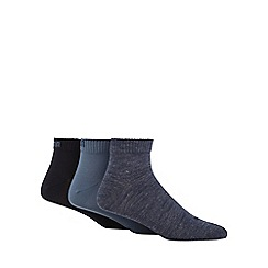 Puma - Pack of three navy embroidered socks