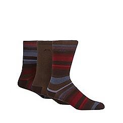 RJR.John Rocha - Pack of three dark brown striped socks