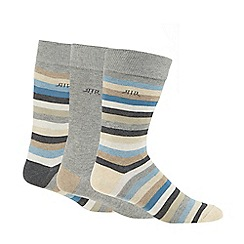 RJR.John Rocha - Pack of three blue striped socks