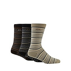 RJR.John Rocha - Pack of three brown fine striped socks