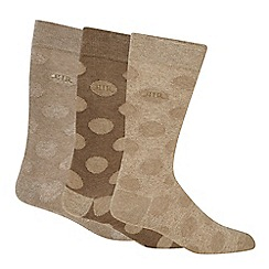 RJR.John Rocha - Pack of three taupe spotted socks