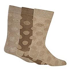 RJR.John Rocha - Pack of three taupe spotted socks