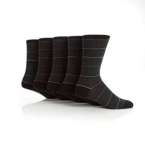 Freshen Up Your Feet - Pack of five black colour stripe socks