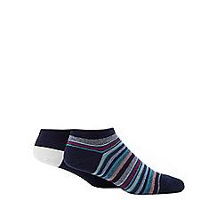 Debenhams Sports - Pack of two navy multi-coloured striped socks