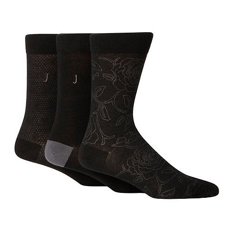 J by Jasper Conran - Pack of three designer black patterned ankle socks