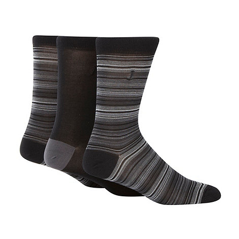 J by Jasper Conran - Designer pack of three black stripe patterned socks