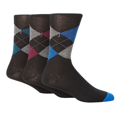 J by Jasper Conran - Designer pack of three black argyle socks