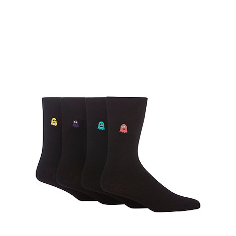 Red Herring - Pack of four black ghost embroidered ankle socks