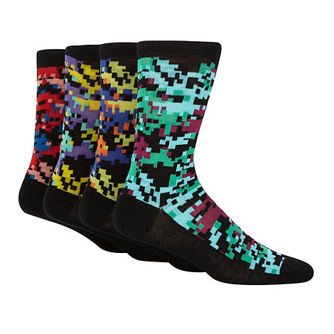 Red Herring - Pack of four pixellated camouflage ankle socks