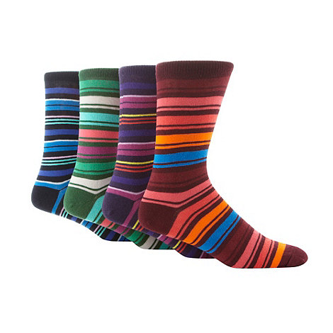 Red Herring - Pack of four multi striped ankle socks