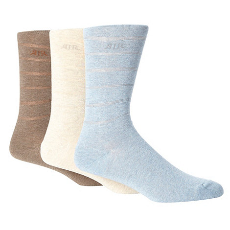 RJR.John Rocha - Designer pack of three fine striped marl socks