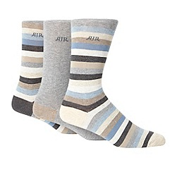 RJR.John Rocha - Designer pack of three beige plain and block striped socks