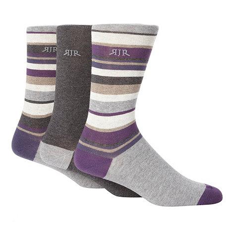 RJR.John Rocha - Designer set of three purple striped socks