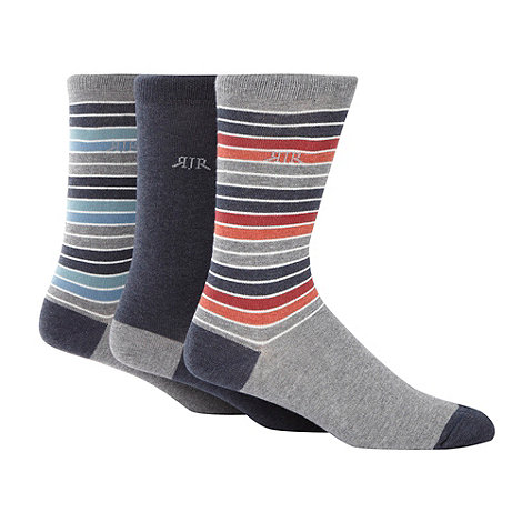 RJR.John Rocha - Designer pack of three grey striped socks