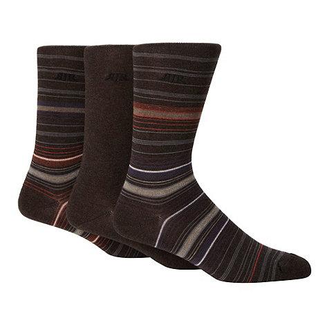 RJR.John Rocha - Designer pack of three brown plain and striped socks