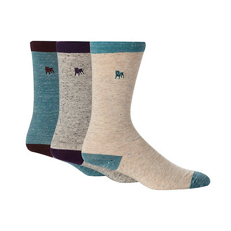 J by Jasper Conran - Pack of three designer grey and turquoise neppy ankle socks