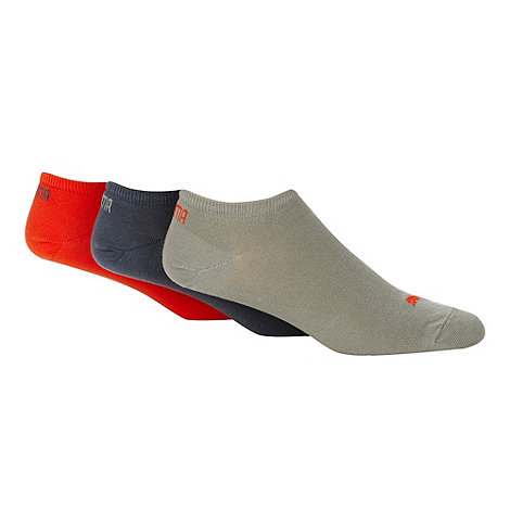 Puma - Pack of three orange logo trainer socks