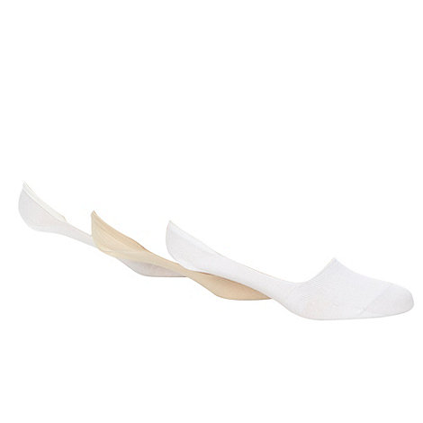 Debenhams Basics - Pack of three white invisible trainer socks