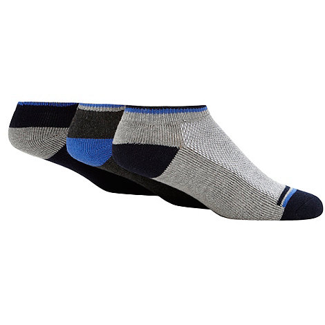 Debenhams Basics - Pack of three navy pique trainer socks