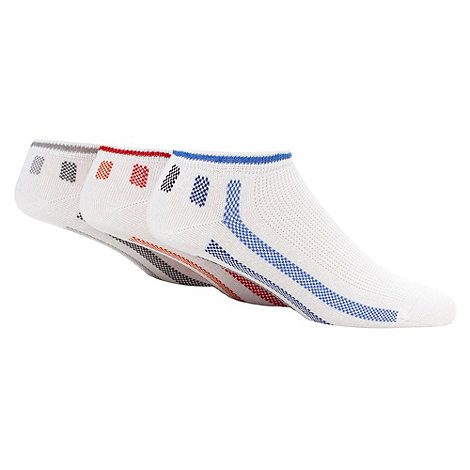 Debenhams Basics - Pack of thee white striped trainer socks