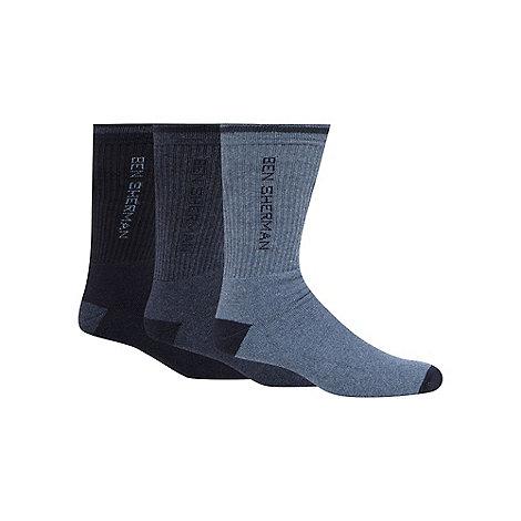 Ben Sherman - Pack of three blue sport sole  socks