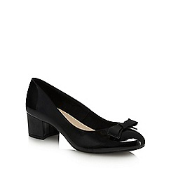 Good for the Sole - Black patent 'Gianluca' mid wide fit court shoes