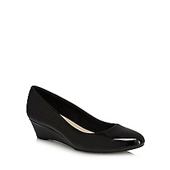 Good for the Sole - Black patent 'Gretchen' mid wide fit court shoes