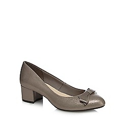 Good for the Sole - Metallic patent 'Gianluca' mid wide fit court shoes