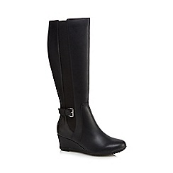 Good for the Sole - Black mid wedge heel knee high boots