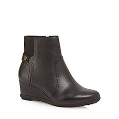 Good for the Sole - Black 'Gosling' mid wedge heel wide fit ankle boots