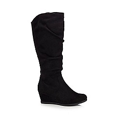 Good for the Sole - Black suedette 'Giselle' mid wedge wide fit knee-high boots