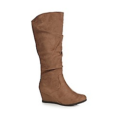 Good for the Sole - Taupe suedette 'Giselle' mid wedge wide fit knee-high boots