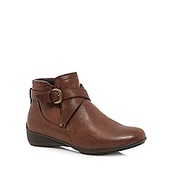 Good for the Sole - Brown 'Genna' wide fit ankle boots