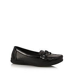 Good for the Sole - Black 'Gok' wide fit slip on moccasins