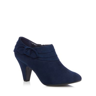 Navy Blue Leather Flat Shoes