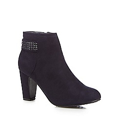 Good for the Sole - Navy suedette 'Glitzy' high heel wide fit ankle boots