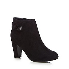 Good for the Sole - Black suedette 'Glitzy' high heel wide fit ankle boots